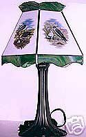 4 Birds of Prey, Stained Glass Lamp Shade w/Base