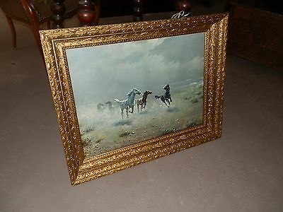 Amazing Antique Multi Layered Victorian Wood/gesso Framed Wild Horses Print