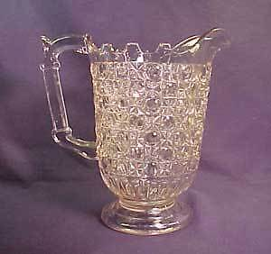 Currier and Ives Eary Am. Pattern Glass Water Pitcher