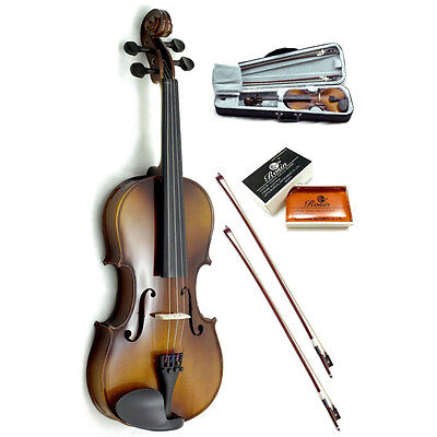 New 4/4 Full Size Violin w Rosin, Black/Brown Case+Extra Bow