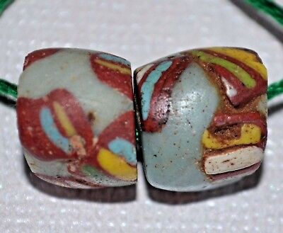 Ancient Blue Glass Islamic Beads Polychrome Stripes Excavated Mali African Trade