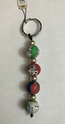 Clay Silver Bead Key Chain Las Vegas Casino Poker Dice Cards
