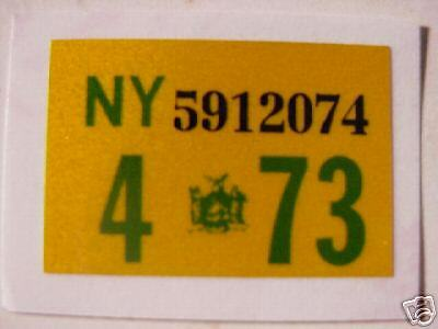 1973 new york ny  license plate registration stickers