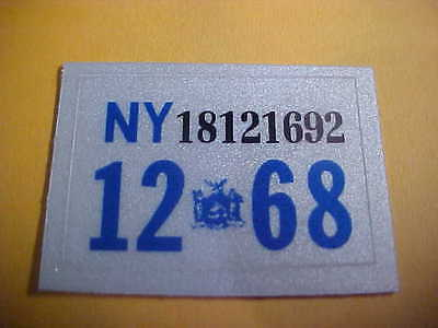 1968 new york license plate registration stickers