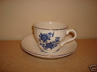 Enoch Wedgwood Royal Blue Ironstone Cup & Saucer Set
