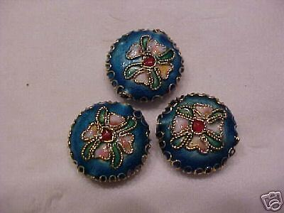 40 Turquoise 15mm Filigree Cloisonne round Beads.   BO1