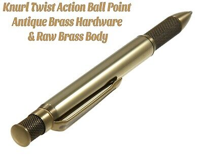 Knurl Ballpoint Pen with Antique Brass Hardware & Solid Raw Brass Body / #KABB