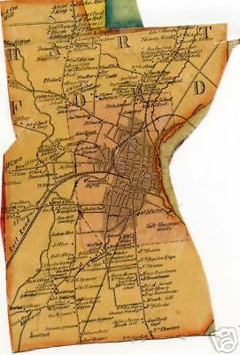 Antique Wall Map Fragment Hartford CT Connecticut