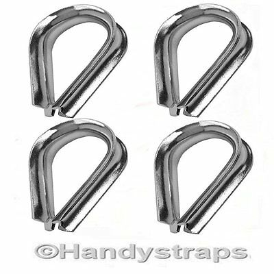 4 x 3mm Wire Rope Thimbles for 3mm wire  Marine Stainless Steel