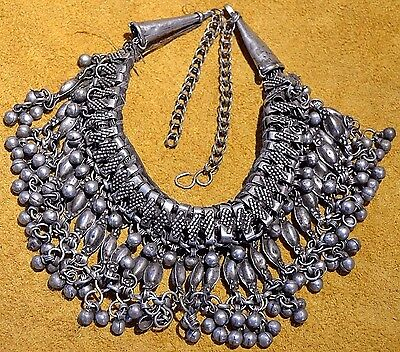 Antique Ethiopian Ethnic Metal Choker Necklace Dangles & Bells Ethiopia, Africa