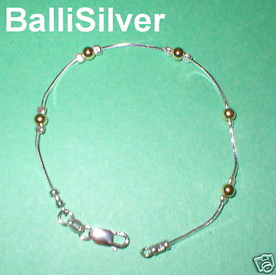 5 pcs Sterling Silver + Gold Filled Beads BRACELETS Lot