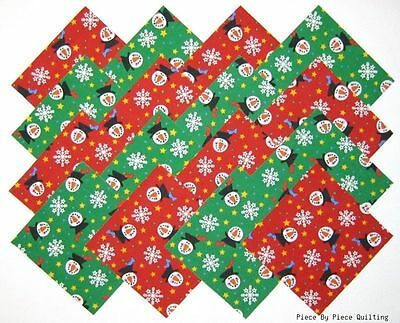 "24 5"" CHRISTMAS SNOWMEN Fabric Quilt Squares Quilting Snowman Holiday Snowflake"