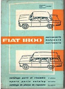 Fiat 1800 Illustrated Body Parts Book 1961 #110.355