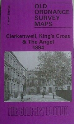 OLD ORDNANCE SURVEY MAPS LONDON CLERKENWELL KING'S CROSS & ANGEL 1894 S50  New