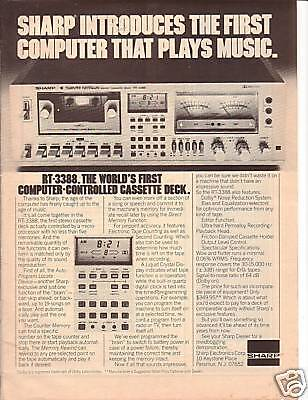 RARE 1978 Sharp RT-3388 Cassette Deck Ad FREE SHIPPING