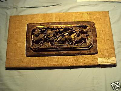 Antique CARVED WOODEN Oriental Temple PANEL Plaque OLD