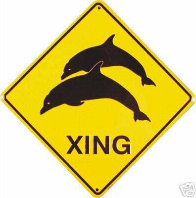 Dolphin Crossing Metal Embossed Sign
