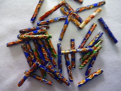 50 Mixed 3x22mm Cloisonne Tube Beads.  BL6