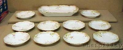 Antique c1890 Redon Limoges Ice Cream Set Tray + 10 Plates Hand Painted Flowers