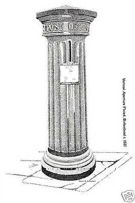 (60163) Postcard: Verticle Aperture Fluted  Pillar Box