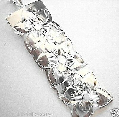 18mm Hawaiian Heavy Solid Sterling Silver 3 Plumeria Flower Vertical Bar Pendant