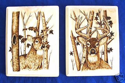 2 Authentic Native American Artwork Woodburning Wall Plaques Doe & Buck 8.5x11""