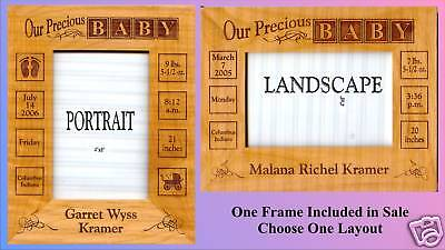 Personalized Engraved Baby Picture Frame, 4x6 photo