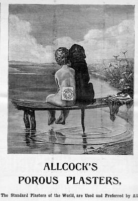 Boy And Dog Sitting On Dock Allcock's Porous Plasters 1888 Antique Advertisement