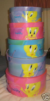 Looney Tunes Tweety Bird Hat Box Warner Bros. Lot Of 5