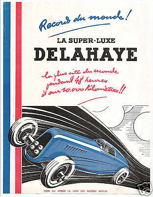 French Delahaye Automobile Ad Sheet 1934-35 Win Records