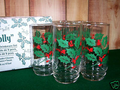 Vintage Indiana Glass Holly 6 Cooler Glasses MIB Retro Christmas Holiday Tumbler