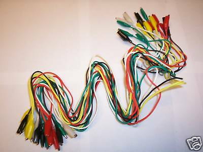 20pc TEST LEADS ALLIGATOR ROACH CLIP JUMPER WIRE 32""