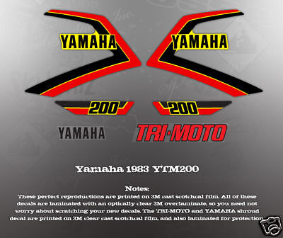Yamaha Ytm200 1983 Tri-Moto Decal Graphic Kit Like Nos