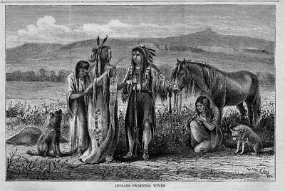 Indians Swapping Wives, Noble Red Man, Antique Print