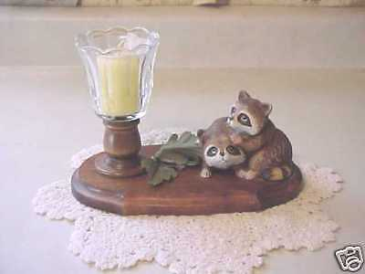 Home Interiors Raccoons with Votive Cup