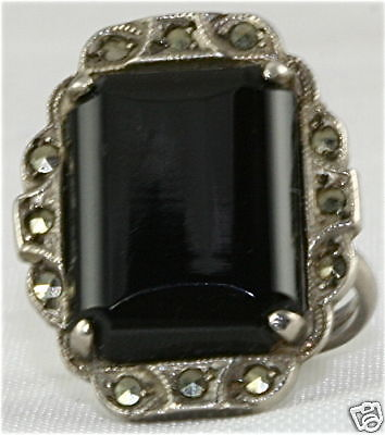 VINTAGE STERLING SILVER ONYX MARCASITE RING ART DECO