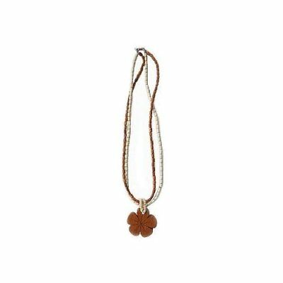 Hawaiian Jewelry Koa Wood Large Plumeria Flower With Koa Rice Bead Necklace
