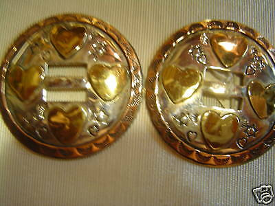 "Conchos: Pair of Sterling Slotted 2"" w/ Brass Hearts"