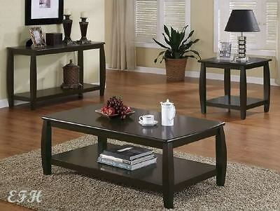 CONTEMPORARY 2PC CAPPUCCINO WOOD COFFEE END TABLE SET