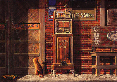 Slot Machine Gum Vendor Rexall Beech Nut Life Savers Store Art Signed by Souders