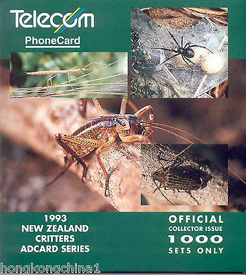 New Zealand 93 Critters insect phonecard in folder NZ10769