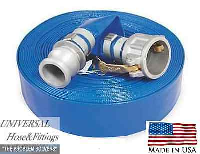 "2"" X 50' Water Discharge Hose Made In Usa W/cam Lock Trash Pump"