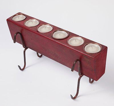 Small Sugar Mold Complete Set-Old Mexican-Rustic-RED-Wooden-6 hole-Candleholder