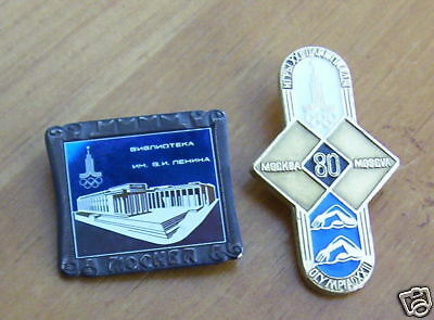 1980 Moscow Olympic Pin Lot of 2
