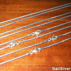 "12 Silver OXIDIZED 1.6mm SNAKE Chains 16"" 18"" 20"" 24"""