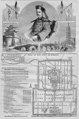 Peking 1860 Plan Of The City Of Peking Emperor Hien-Fou