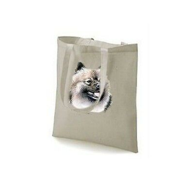 Keeshond Head Printed Design On A Tote Shopping Bag