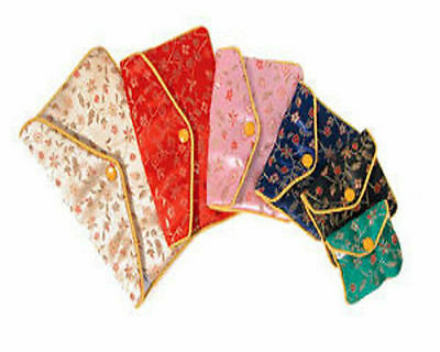 "12 Assorted Fancy Chinese Silk Pouch Bags 2.5"" x 2"" #1"