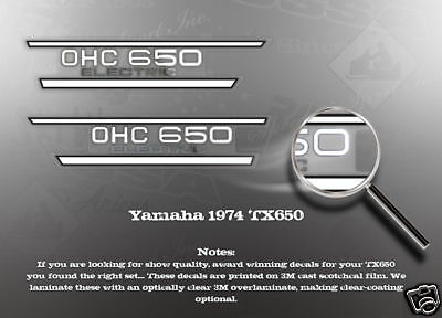 Yamaha 1974 Tx650 Side Cover Decals Graphics Like Nos