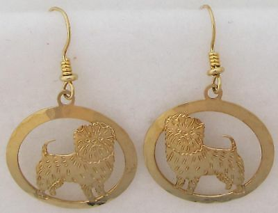 Affenpinscher Jewelry Gold Dangle Earrings by Touchstone Dog Designs